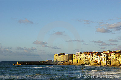 Waves at sunset in Cefalu