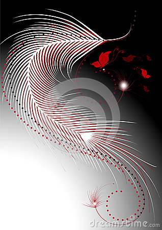 Waves white and red feathers with a decor of butte
