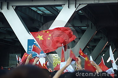 Waving Chinese flag