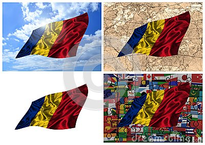 Waving colorful Romania flag collage
