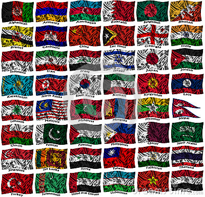Waving colourful Asia flags