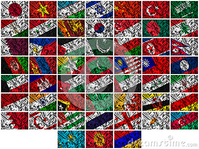 Waving colourful Asia  flags on a silk background