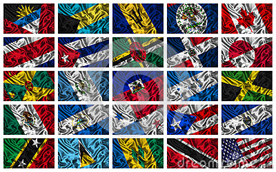 Waving colourful North America  flags