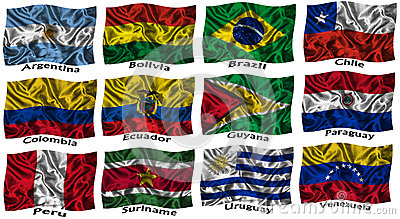 Waving colourful South America flags