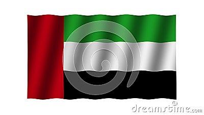 Waving Fahne der Vereinigten Arabischen Emirate. Animation. Footage. Hintergrund stock video footage