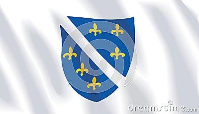 Waving flag of bosnia herzegovina