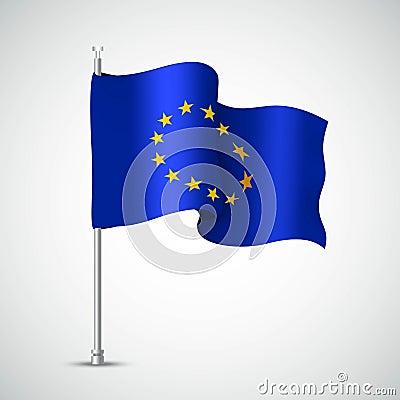 Free Waving Flag Of The European Union. Vector Illustration Stock Photo - 93611820