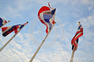 Waving flag of thailand with clear sky