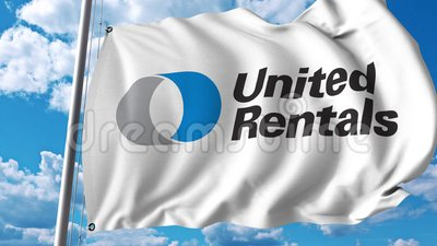 Waving flag with United Rentals logo  4K editorial animation