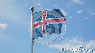 Waving Flag van IJsland stock footage