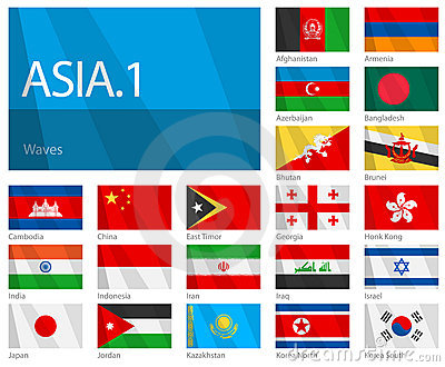 Waving Flags of Asian Countries - Part 1
