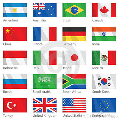 Waving flags of G-20 countries