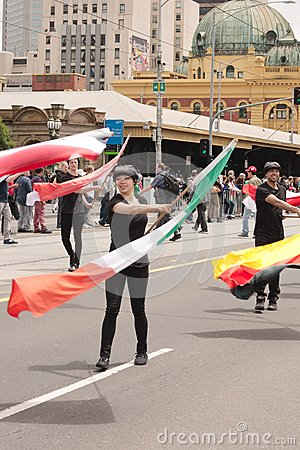 Waving flags on parade Editorial Stock Photo
