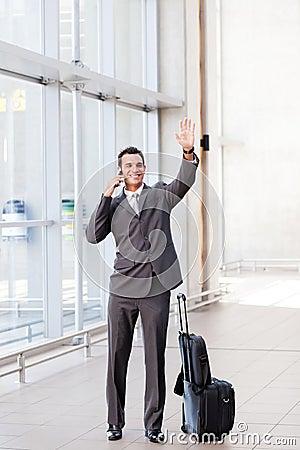 Waving good bye at airport