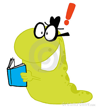 Waving Green worm student carrying a book