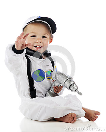 Waving Little Astronaut