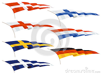 Waving pennants or flags