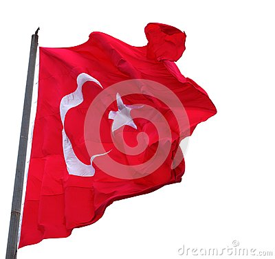 Waving in wind flag of Turkey with flagpole