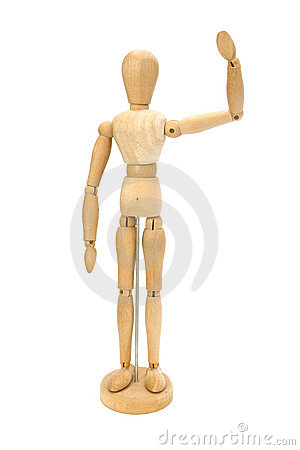 Waving wooden artists Mannequin