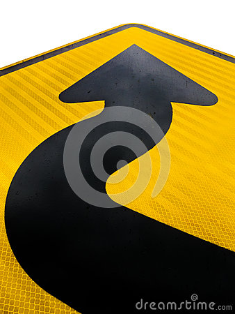 Wavy arrow on road sign pointing up for success