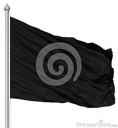 Free Wavy Black Textile Flag On Flagpole Stock Photography - 24299502