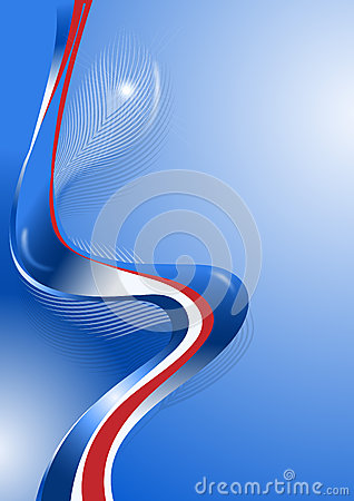 Wavy blue and red lines with the decor of feathers