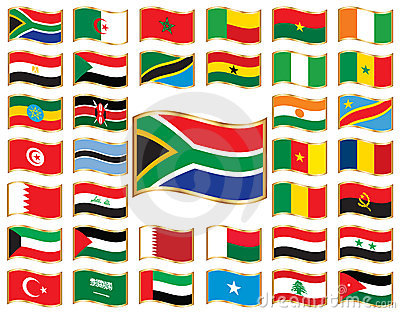 Wavy flags with gold frame - Africa & Middle East