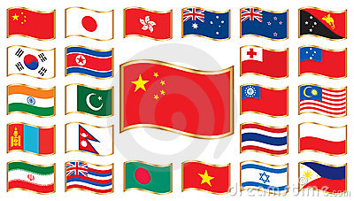 Wavy flags with gold frame - Asia and Oceania