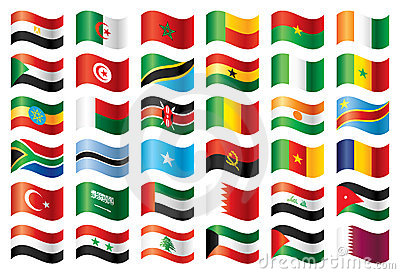 Wavy flags set - Africa & Middle East