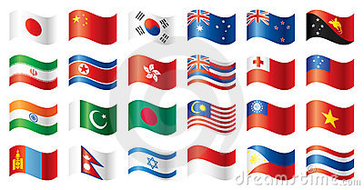 Wavy flags set - Asia & Oceania