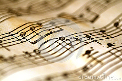 Wavy music notes Stock Photo