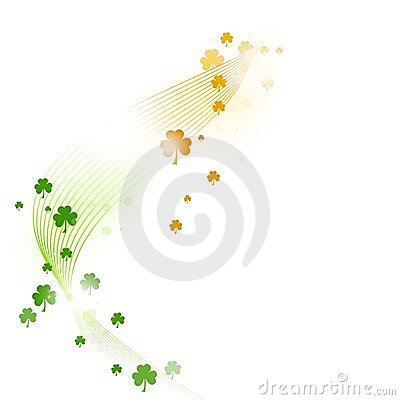 Wavy pattern with shamrocks in green, white orange