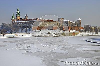 Wawel Castle in Krakow and frozen Vistula river