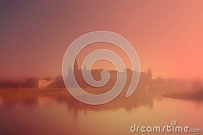 Wawel Castle in the morning fog