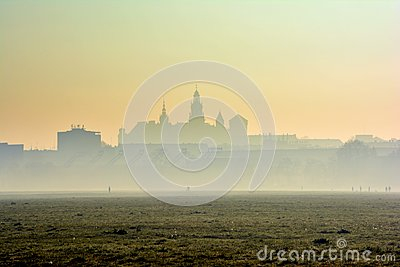 Wawel Castle in the morning fog, Krakow