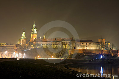 Wawel castle in night