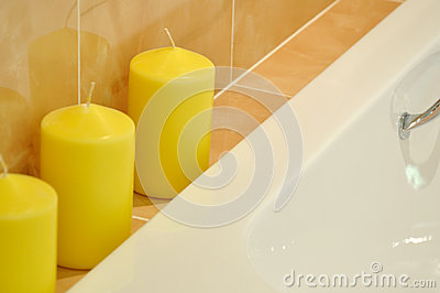 Wax candle in SPA room