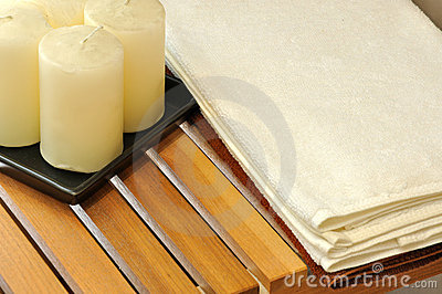 Wax candle and towel for SPA