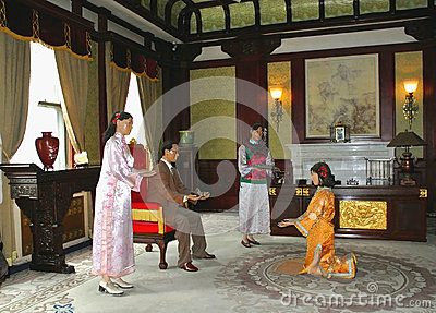 Wax figures of Last emperor s family Editorial Photography