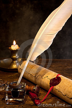 Free Wax Seal And Quill Pen Stock Photos - 16231463