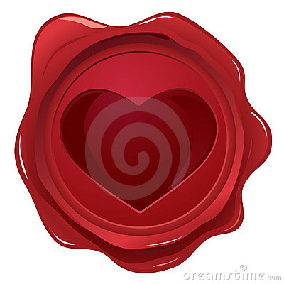Wax seal with heart stamp