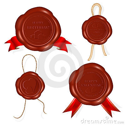 Wax seals with rope and red ribbons.