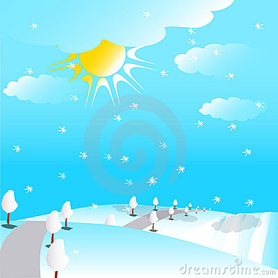 Free Way In Snowy Hills Illustration Stock Photo - 16630010