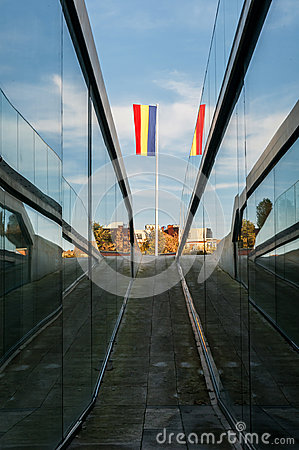 Way leading to romanian flag