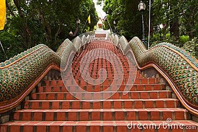 Way up of naga stairs to Wat Pathat Doi Suthep