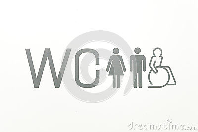 WC sign of public toilets