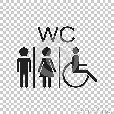 Free WC, Toilet Flat Vector Icon . Men And Women Sign For Restroom On Stock Photography - 96389882