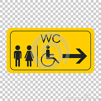 Free WC, Toilet Vector Icon . Men And Women Sign For Restroom On Yell Royalty Free Stock Images - 96389209