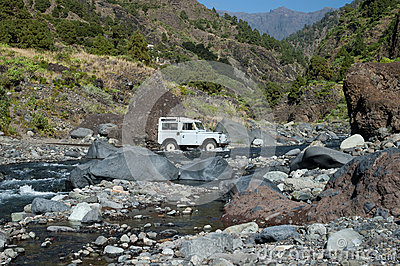 4WD crossing creek Editorial Stock Photo
