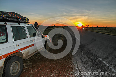 4WD at sunset